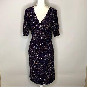Lauren Ralph Lauren Faux Wrap Dress Sz 10 Navy